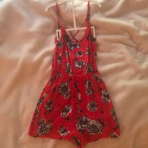 red and black floral H&M romper